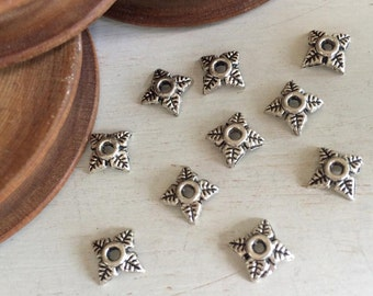 Bead cups old silver tone 5 mm x 10 pcs