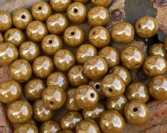 Czech Glass 6mm Round 6mm Round Druk Beads Luster Honey mustard  x 30 pcs