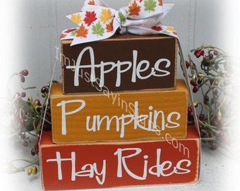 Apple Pumpkins Hay Rides Autumn Wood Itty Bitty Stacking Blocks