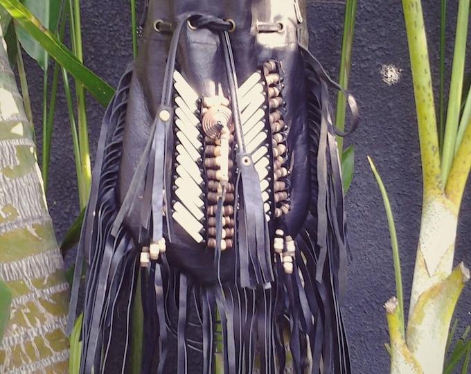 Medium Black Indian leather Handbag, Native American Style  bag. Crossbody bag