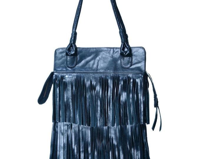 REDUCED PRICE!! Texas Fringe Black Leather Bag / Boho Chic