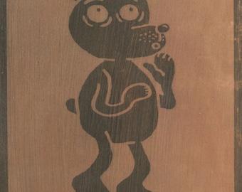 Bear. B/W print on wood.