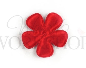 "Christmas - Set of 5 Red Satin Flowers - 2"" Padded Appliques - PA-042"