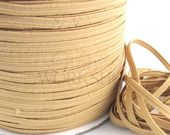 "Tan - 5 Yards of 1/8"" Skinny Elastic - 1/8-SE-051"