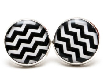 Black White Chevron earring studs chevron jewelry zig zag geometric design black and white earring Seamless Hipster