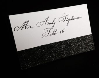 White Matte Printed Folded Placecard with Black Glitter Accent
