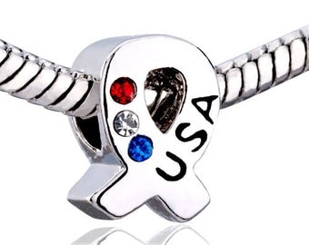 European Charm Bead For All Large Hole Charm Bracelet And Necklace Chain, USA-Patriotic Ribbon w/ Red, White & Blue Crystal.