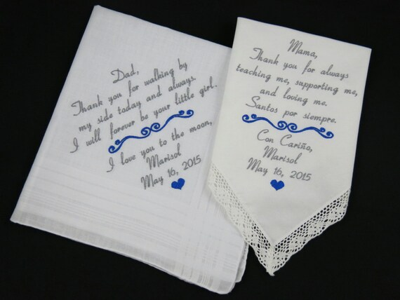 Embroidered Wedding Handkerchiefs Personalized By NapaEmbroidery