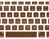 Colombian Walnut Woodgrain Macbook Keyboard Decal Stickers