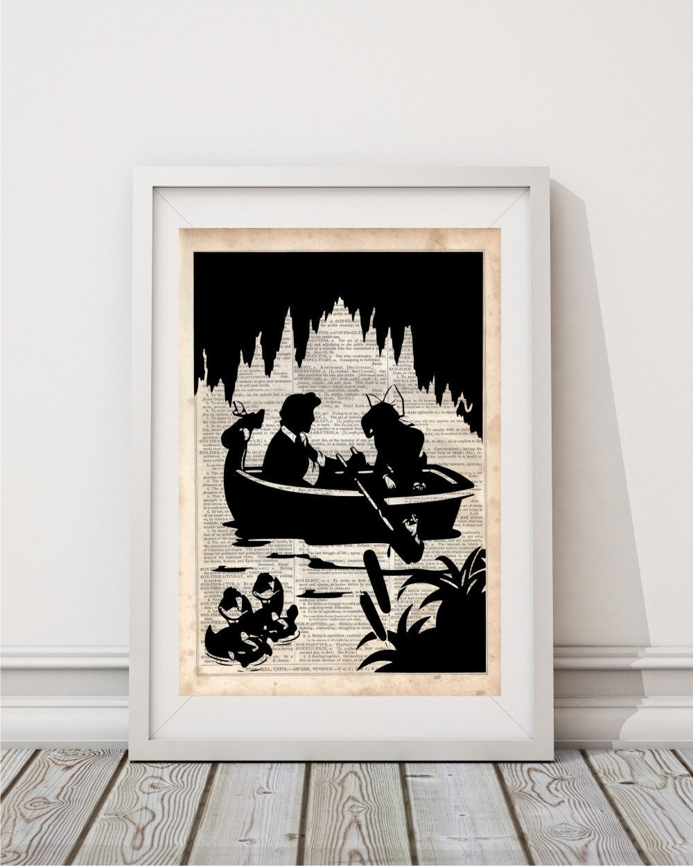 Ariel and Eric Boat Scene Dictionary Art Print Prints on