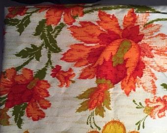 Fabric - Vintage orange and gold floral patterned