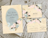Wedding Invite and RSVP - Dinna Vintage Floral Personalized Card Suite
