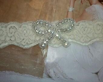 Wedding Toss Garter - Bow Tie Crystal Rhinestone  - Style TG137