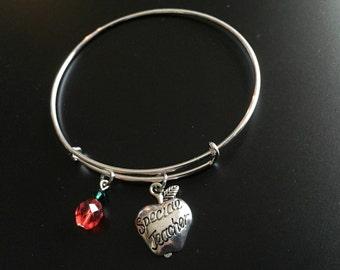 Teacher bangle bracelet, Special Teacher, Teacher gift, Teacher jewelry