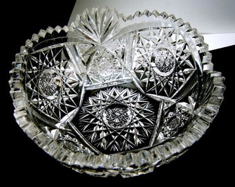 "American Brilliant Cut Crystal Glass Serving Bowl 7"" Dazzling"