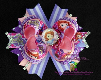 """Sofia The First Ready To Be Shipped In Stock Stacked 5"""" Boutique Bow"""