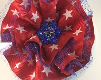 Stars and stripes, American flag, Red white and blue, Hair bows, Fascinator, 4th of July, Forth of July, July forth, Ribbon flower,