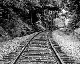 Railroad Track Photograph, Black and White Railroad Landscape Photography, Train Tracks, Rustic Railroad Decor