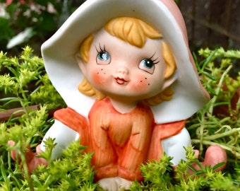 Adorable Little Ceramic Figurine Garden Pixie Elf Gnome by Homco