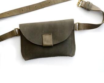 WAIST BAG BEBAS handmade bag of genuine, green, cowhide leather