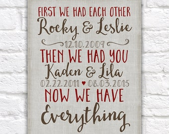 Important Dates, First We Had Each Other Wall Sign, Canvas 10 Year Anniversary, Neutral, Red, Brown, Custom Art Childrens Birthdays | WF329