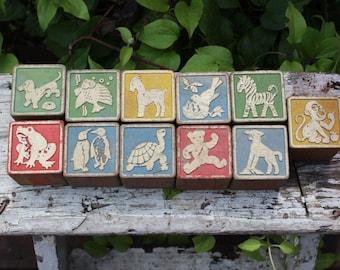 11 vintage ABC wooden blocks, vintage wooden children's blocks, vintage educational toys, wooden alphabet blocks, 1940 children's wood toys