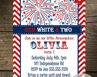 Custom Red, White and TWO Fireworks Invitation