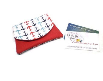 Small anchors women cards wallet, business card holder, velcro closure, navy red and white, vegan, minimalist.