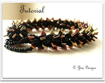 Rope bracelet beadweaving pattern, beadwork tutorial, Dragon Scales beads and SuperDuo beading patern instructions, seedbeads