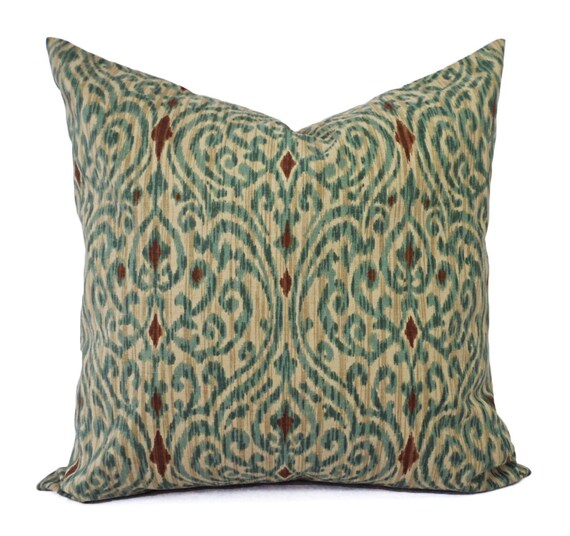 Two Ikat Pillow Covers Blue and Brown Ikat Throw Pillows