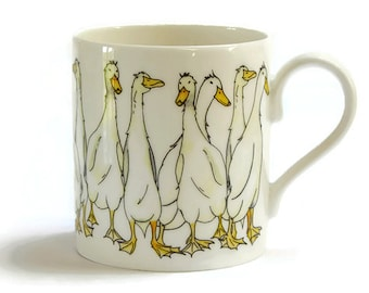 Duck Mug 'Quackers' - Fine Bone China, Country Kitchen, Barnyard Gift