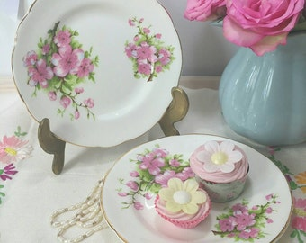 Vintage Pair of Tea Plates with pink cherry blossom flowers made by Winston china.