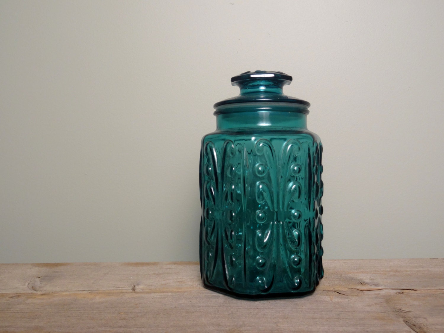 glass canisters for kitchen vintage blue glass canister kitchen storage craft room 17876
