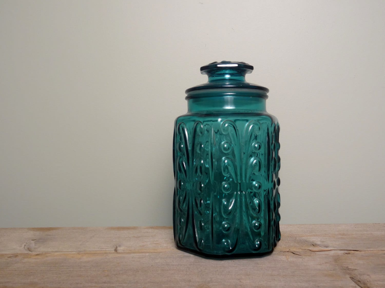 Vintage blue glass canister kitchen storage craft room - Blue glass kitchen canisters ...