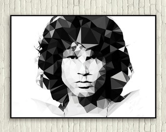 Jim Morrison - The Doors - geometric art (A3 poster art print)
