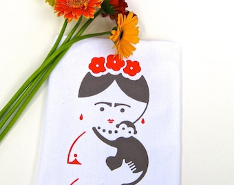 Tea Towel. Frida Kahlo. Kitchen Towel. Hand Towel. Hand Screen Printed. 100% Cotton.