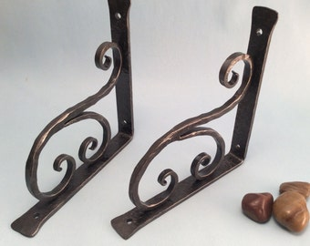 Shelf bracket classical with scroll wrought iron hand forged