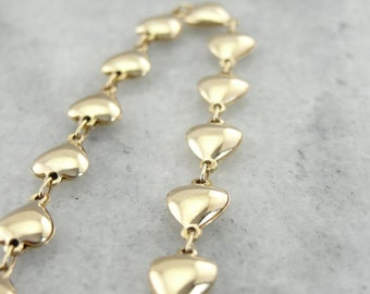 Puffy Link Heart Bracelet In Yellow Gold WDM28J-D