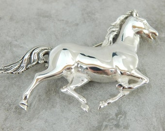 Sweet Young Sterling Silver Horse Brooch QT6620-N
