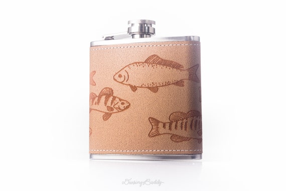 Freshwater Fish Aquarium -  6oz 360º Engraved Leather Hip Flask - - Trout - Smallmouth Bass - Carp - Catfish - Perch - Sunfish