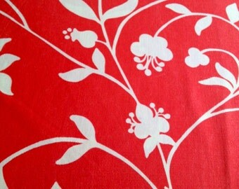 70s vintage fabric. Made in Sweden, scandinavian design. Retro floral pattern red with white flowers mod swedish fabric
