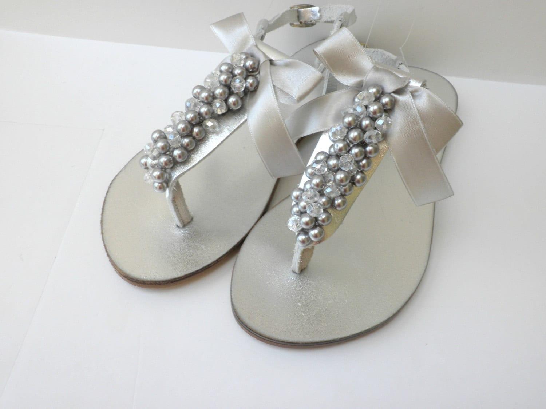 Silver Wedding Sandals/ Bridal Silver Pealrs Crystal Beads/