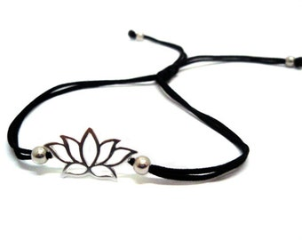 FREE SHIPPING Silver lotus bracelet Yoga bracelet Black string bracelet Enter FREESHIP16 coupon code at checkout