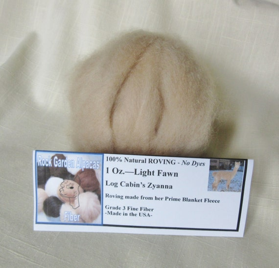 "1 oz. Alpaca Light Fawn 100% Natural Prime Roving from Log Cabin Alpacas ""Zyanna"" For Spinning, Nuno Felting or Needle Felting"