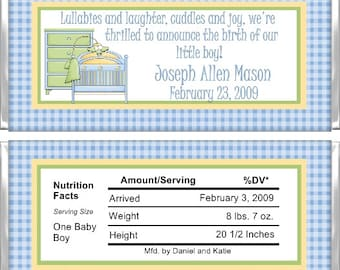Personalized Candy Bar Wrappers - Birth Announcement - Baby Boy Furniture BA013 (Set of 15)