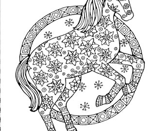 Horses coloring page Etsy
