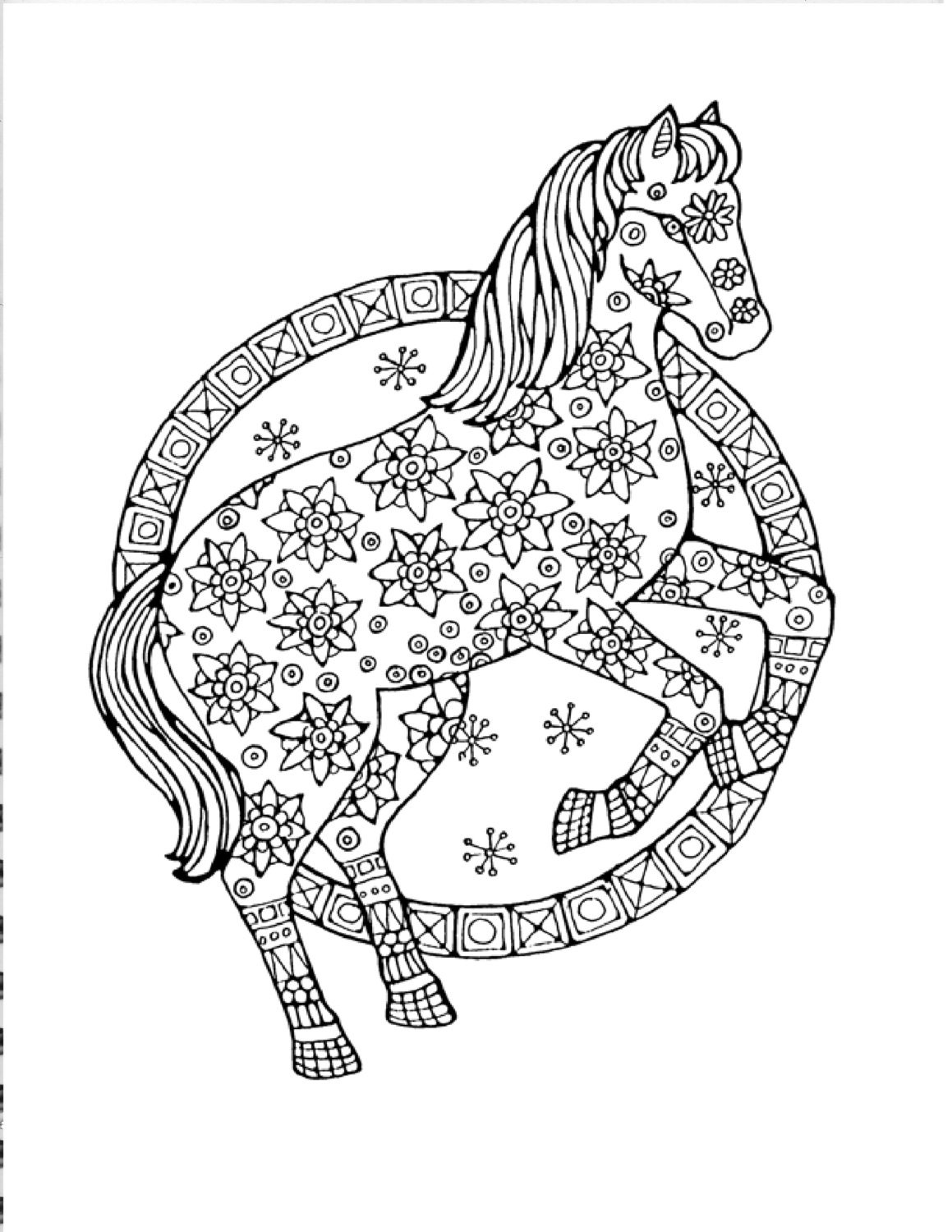 horse coloring page to print and color nature coloring