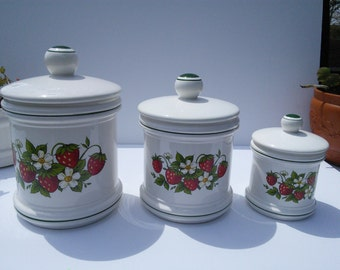 Items Similar To Canisters Strawberry Kitchen Decor Set Of