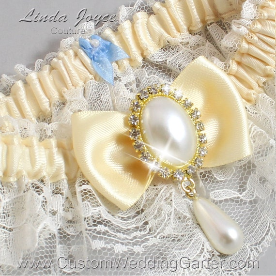 Ivory And Buttermilk Yellow Wedding Garter By