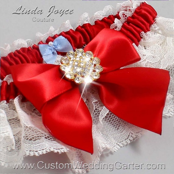 Red Wedding Garters: Ivory And Red Vintage Wedding Garter Lace By